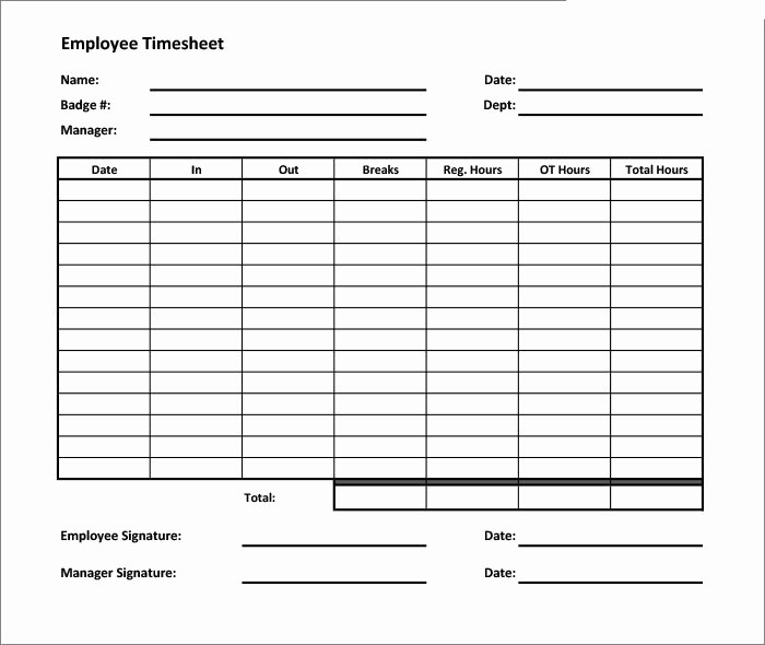 Employee Time Cards Template Fresh 60 Sample Timesheet Templates Pdf Doc Excel