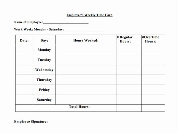 Employee Time Cards Template Lovely Time Card Template