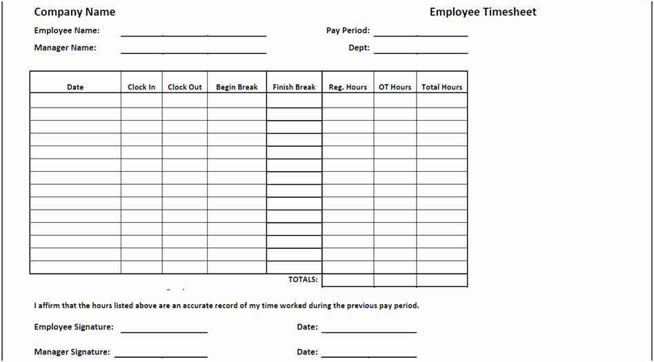 Employee Time Cards Template New Timesheet Templates