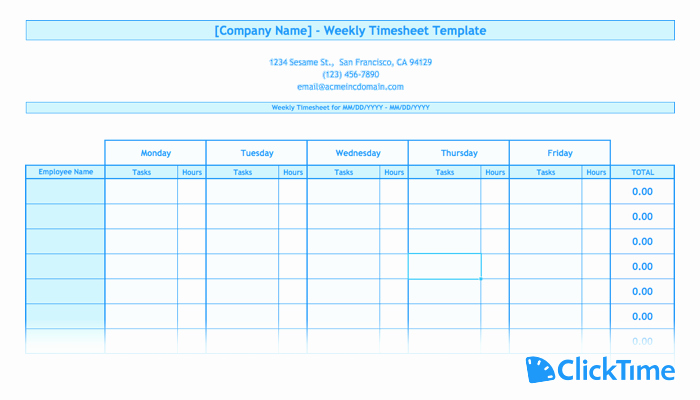 Employee Time Tracking Template Awesome Free Timesheet Template Printable Timesheets