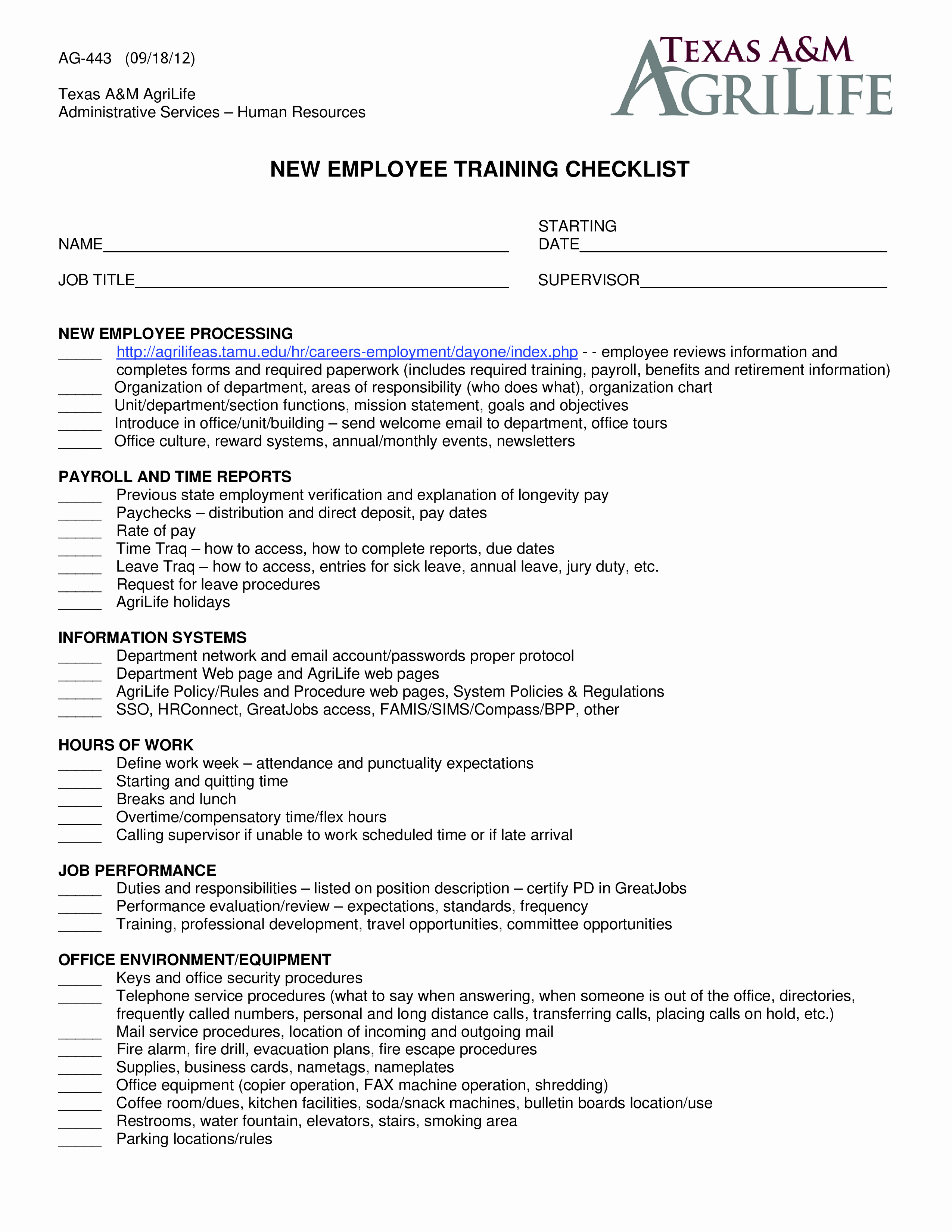 Employee Training Checklist Template Beautiful Free New Employee Training Checklist