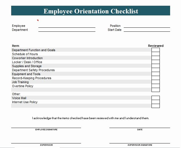 Employee Training Checklist Template Best Of New Employee orientation Checklist Template Excel and Word