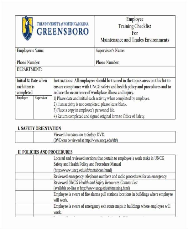 Employee Training Checklist Template Fresh Employee Checklist Templates 9 Free Samples Examples