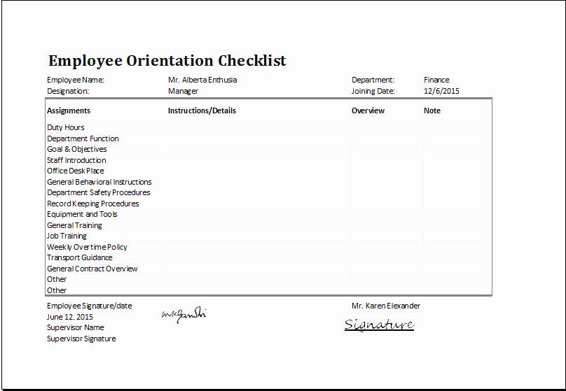 Employee Training Checklist Template Lovely Ms Excel Employee orientation Checklist Editable Template