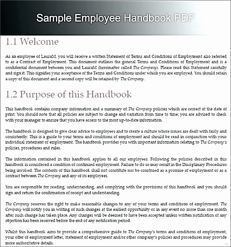 Employee Training Manual Template Awesome New Employee Handbook Template Small Business California