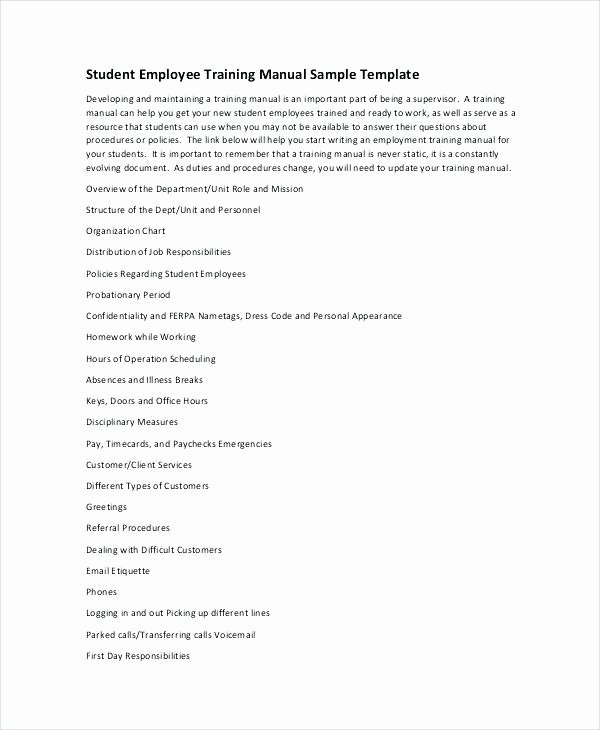 Employee Training Manual Template Best Of Microsoft Word Professional Manual Template Handbook