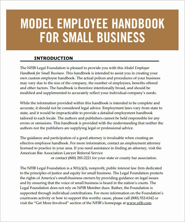 Employee Training Manual Template Luxury 6 Sample Printable Employee Handbook Templates