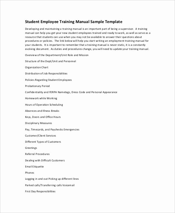Employee Training Manual Template New 10 Training Manual Template Free Sample Example