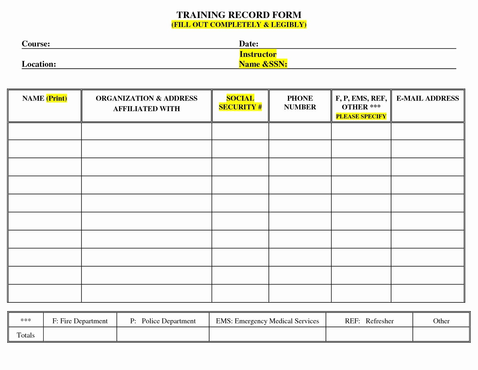 Employee Training Matrix Template Excel Beautiful Employee Training Record Template Excel