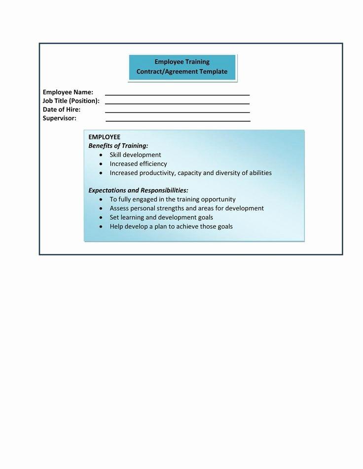 Employee Training Plan Template Beautiful form 9 Employee Training Contract Agreement Template