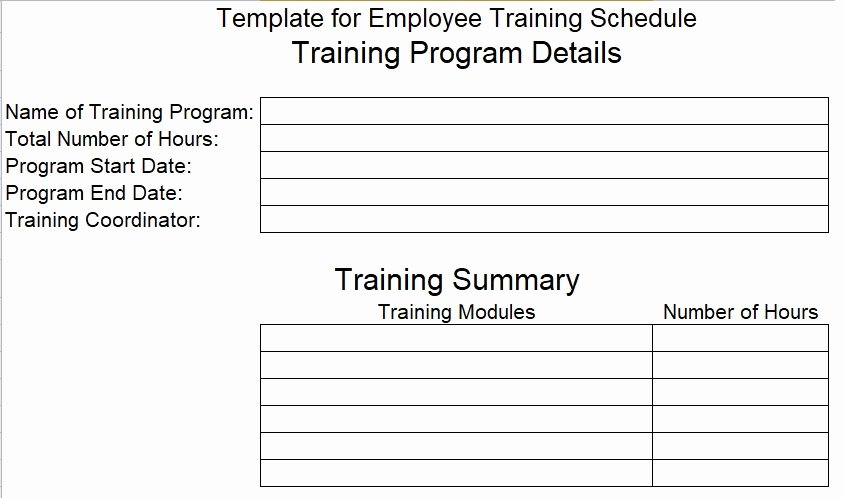 Employee Training Plan Template Unique Download Employee Training Schedule Template for Pany
