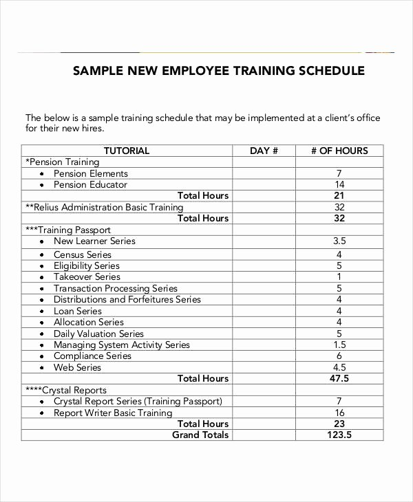 Employee Training Plan Template Word Best Of Employee Training Schedule Template 14 Free Word Pdf