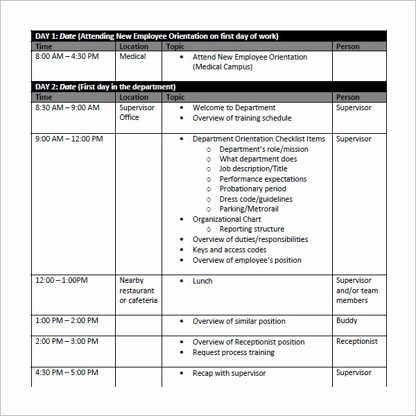 Employee Training Plan Template Word New Employee Schedule Template 5 Download Free Documents In