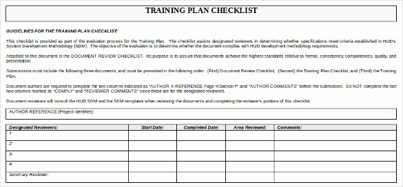 Employee Training Plan Template Word New Training Checklist Template 15 Free Word Excel Pdf