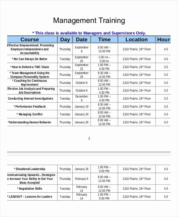 Employee Training Program Template Fresh Employee Training Schedule Template 14 Free Word Pdf