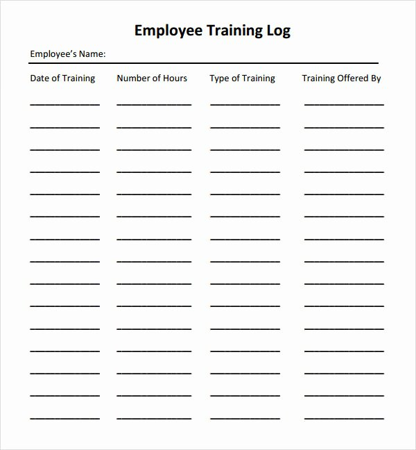 Employee Training Records Template Fresh Employee Training Log Excel Template Employee Vacation