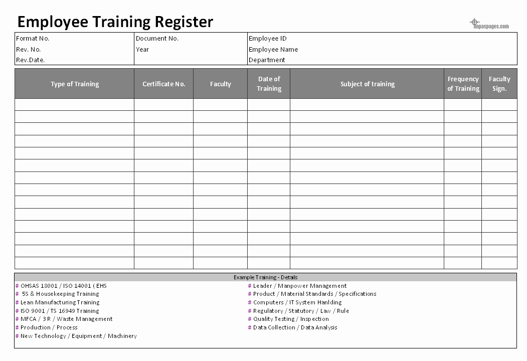 Employee Training Records Template Inspirational Excel Employee Training Log Template Free Human