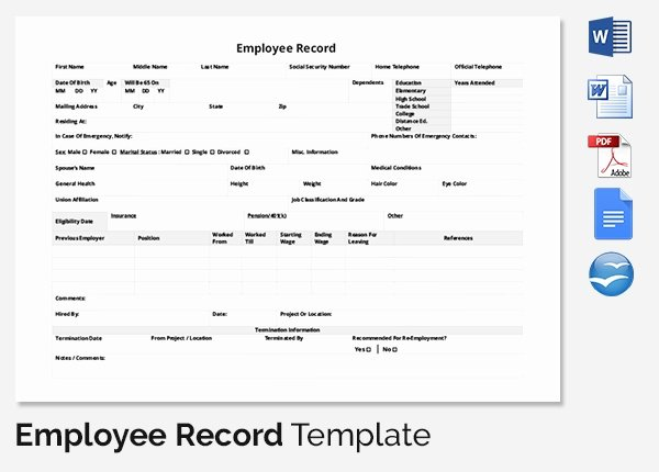 Employee Training Records Template Luxury Employee Record Templates 32 Free Word Pdf Documents