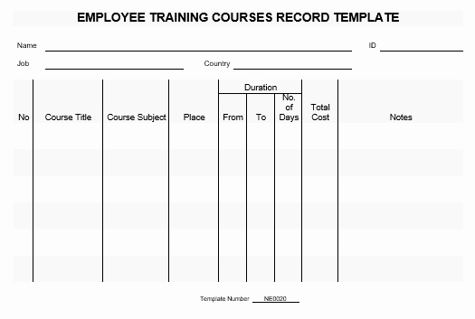 Employee Training Records Template Luxury Ne0020 Employee Training Courses Record Template – English
