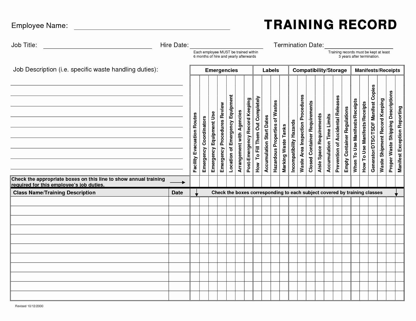 Employee Training Records Template Luxury Training Record Template Baskanai