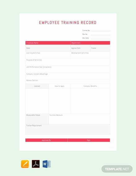 Employee Training Records Template New Free Employee Training Record Template Download 524
