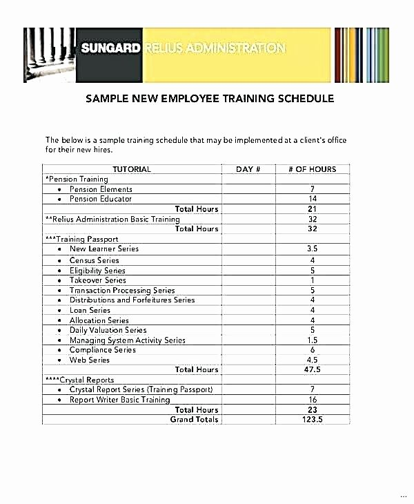 Employee Training Schedule Template Excel Awesome Training Schedule for Employees Template Employee New