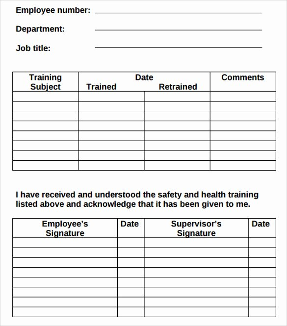 employee training record template excel 4694