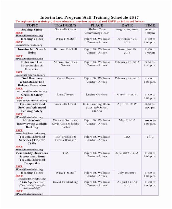 Employee Training Schedule Template Fresh 13 Employee Training Schedule Template Free Sample