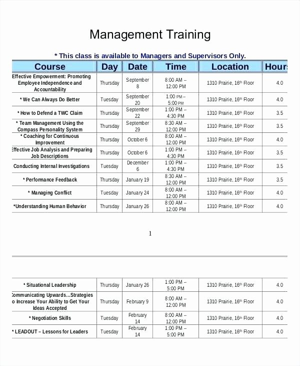Employee Training Schedule Template Inspirational Employee Sample Outline New Training Plan Template