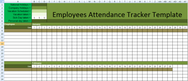 Employee Vacation Tracker Template Awesome Stunning Employee attendance Tracker Sheet Example with