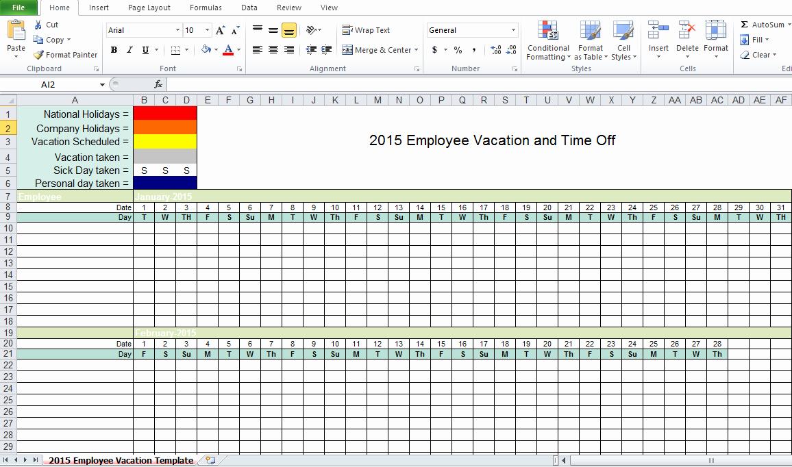 Employee Vacation Tracker Template Beautiful Employee Vacation Tracking Excel Template 2015 Excel Tmp