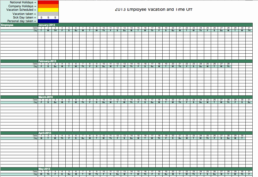 Employee Vacation Tracker Template Beautiful Vacation Time Tracking Template
