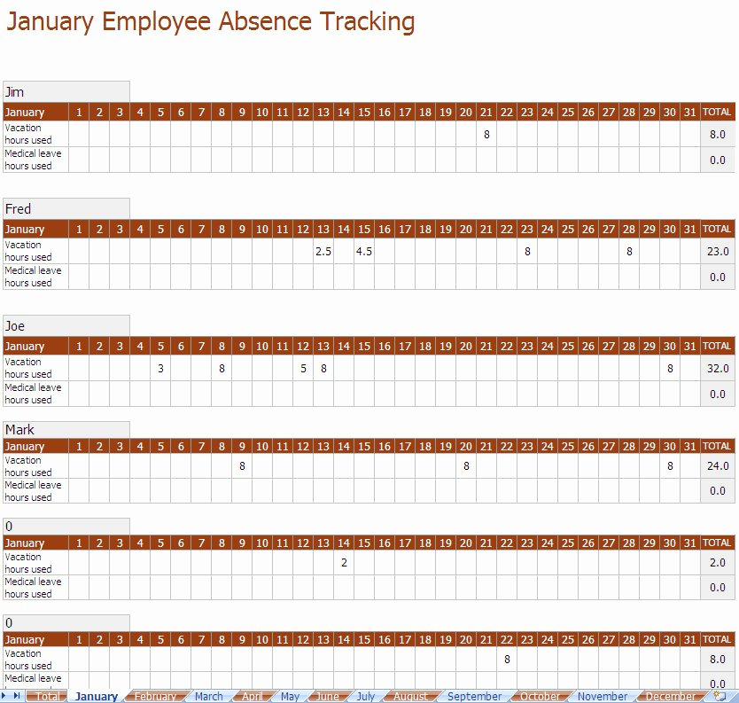 Employee Vacation Tracker Template Best Of Employee Absence Tracking Excel Template