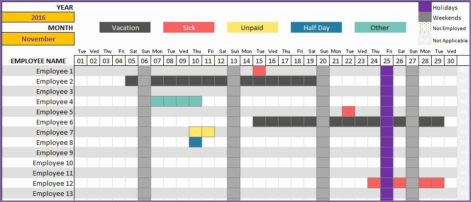 Employee Vacation Tracker Template Elegant Employee Vacation Tracker to Track Leave & attendance