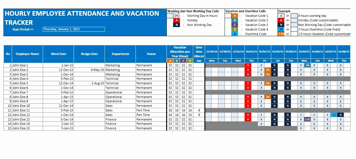 Employee Vacation Tracker Template Elegant Free Full Time and Part Time Employee Vacation Planner