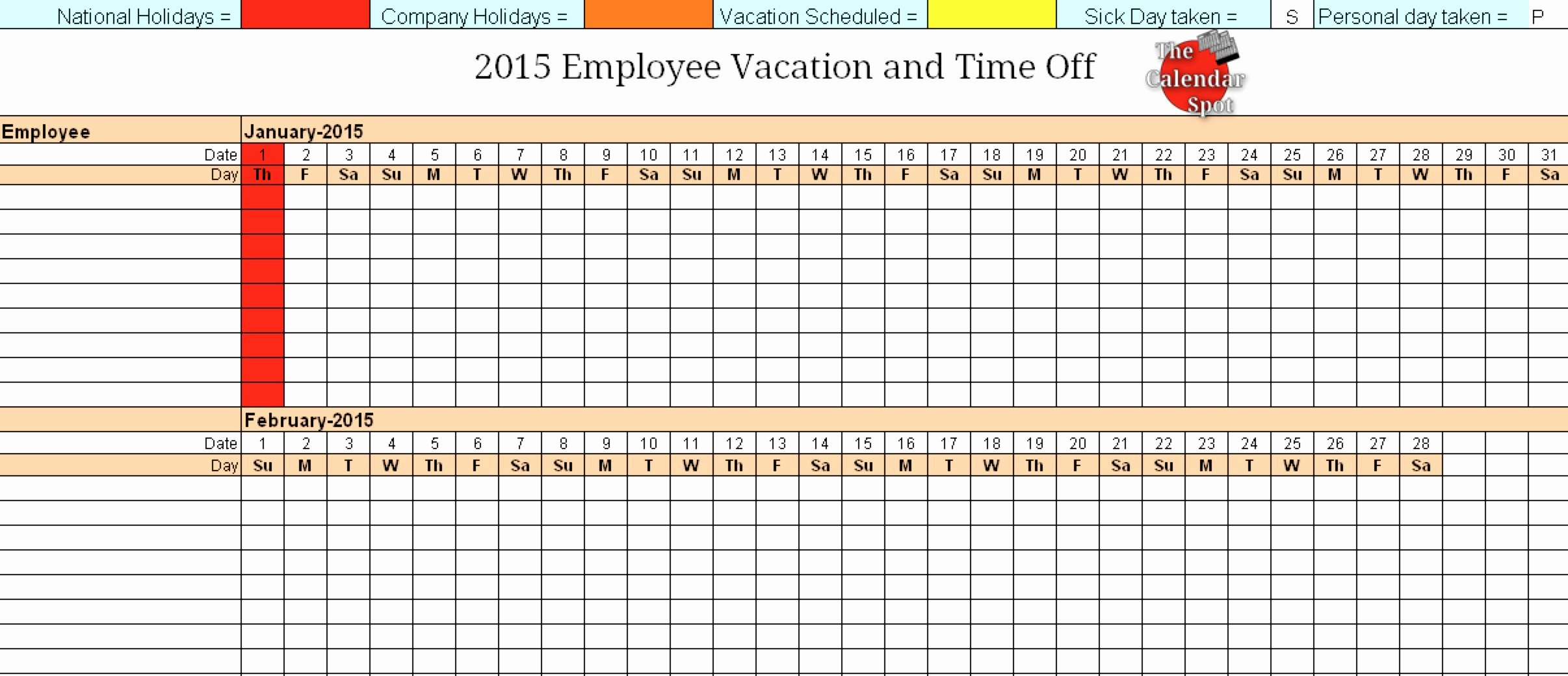 Employee Vacation Tracker Template Inspirational 4 Vacation Schedule Templates Excel Xlts
