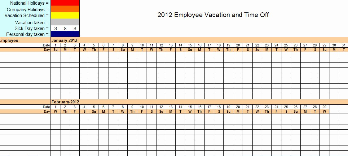 Employee Vacation Tracker Template New Employee Vacation Tracking Excel Template