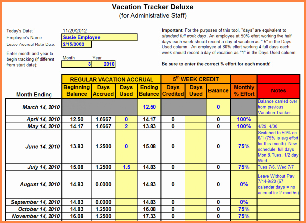 Employee Vacation Tracker Template Unique 7 Sick and Vacation Spreadsheet