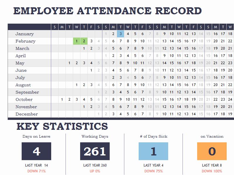 Employee Vacation Tracker Template Unique Employee attendance Tracker Calendar Sheet Template