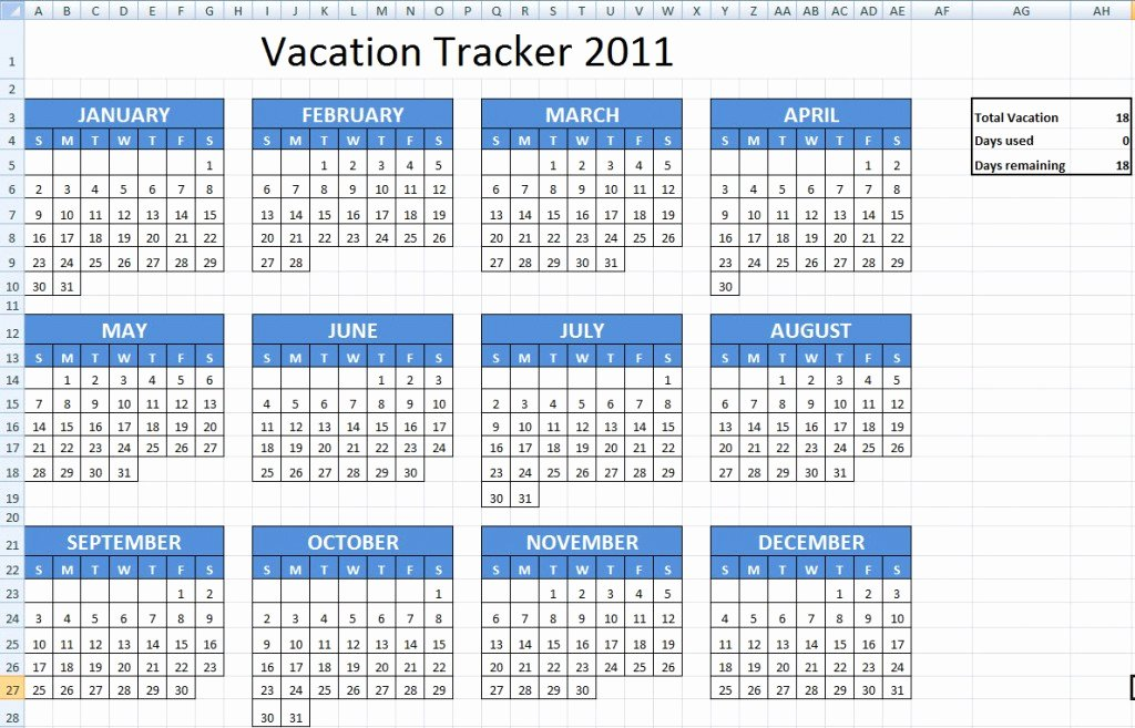 Employee Vacation Tracking Template Lovely Excel Vacation Calendar Template
