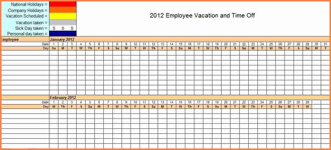Employee Vacation Tracking Template New 7 Sick and Vacation Spreadsheet