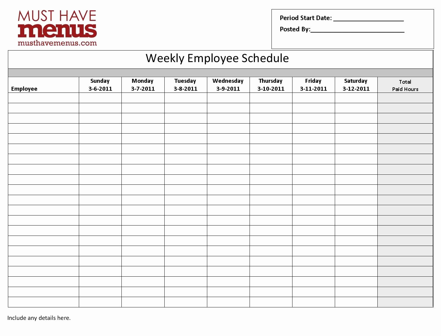 Employee Weekly Schedule Template Inspirational Weekly Employee Schedule Template