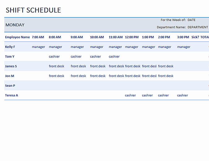 Employee Weekly Schedule Template Inspirational Weekly Employee Shift Schedule