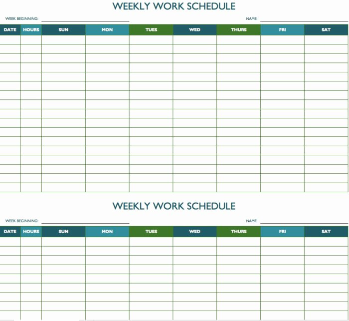 Employee Weekly Schedule Template Lovely Bi Weekly Employee Schedule Template Free Templates
