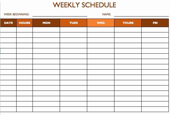 Employee Weekly Schedule Template Lovely Free Work Schedule Templates for Word and Excel