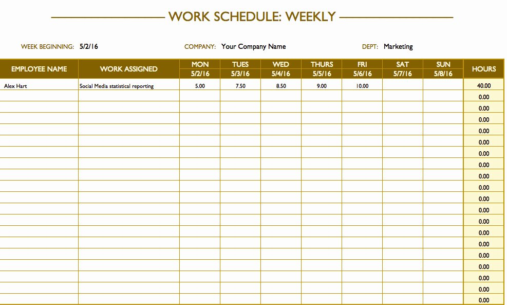 Employee Weekly Schedule Template Luxury Free Work Schedule Templates for Word and Excel