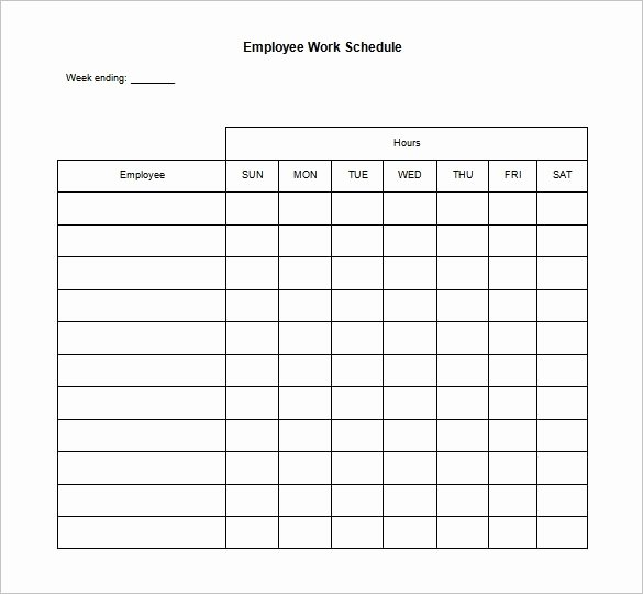 Employee Weekly Schedule Template New Work Schedule Template Free Beepmunk