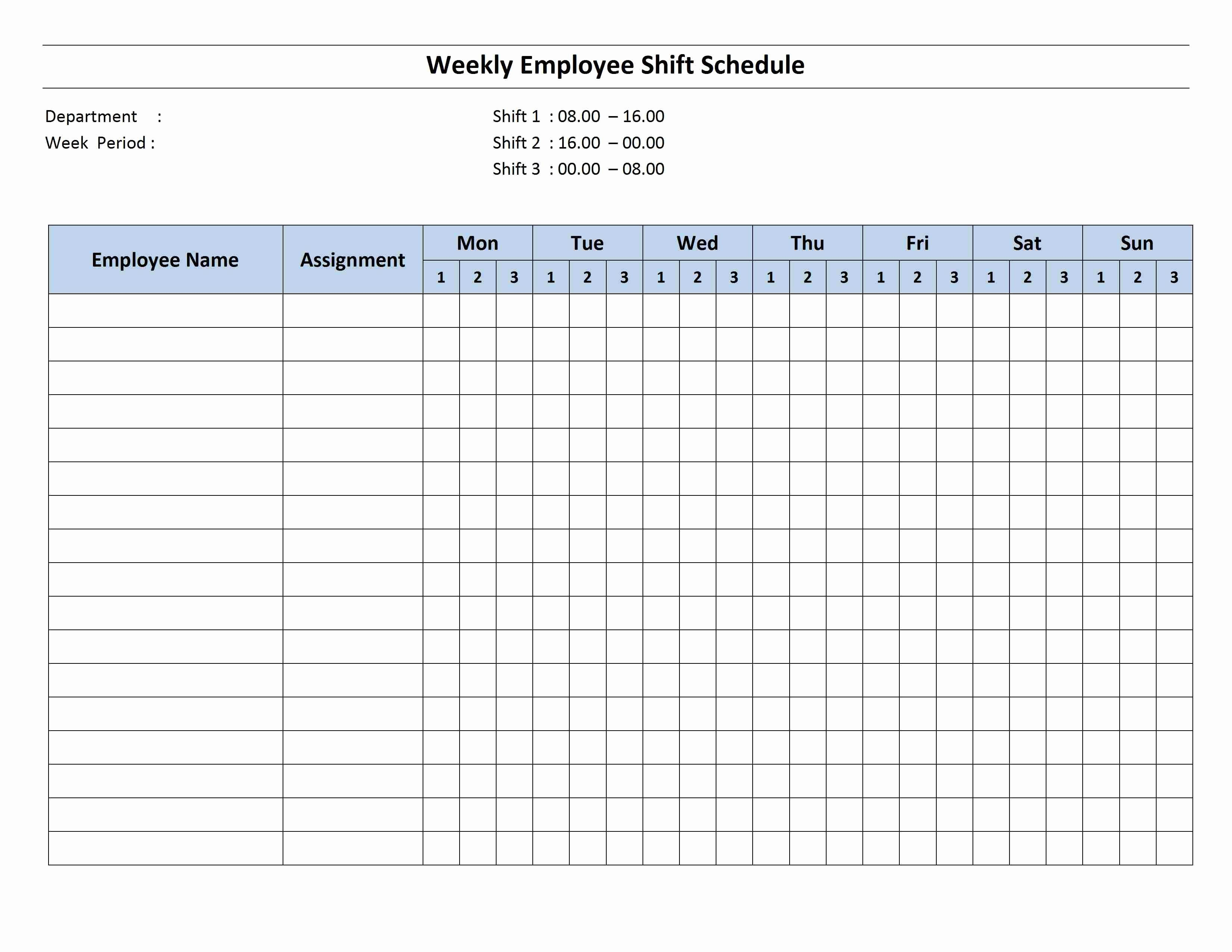 Employee Weekly Work Schedule Template Awesome Free Monthly Work Schedule Template
