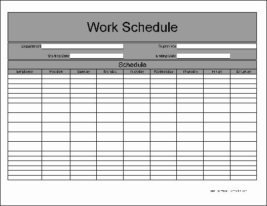 Employee Weekly Work Schedule Template Beautiful Free Basic Weekly Work Schedule From formville