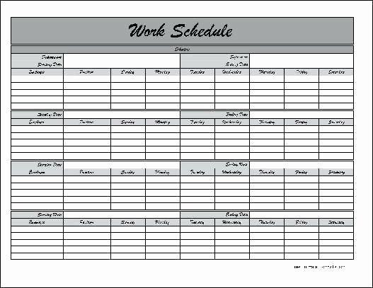 Employee Weekly Work Schedule Template Beautiful Free Printable Work Schedule Template – Psychicnights